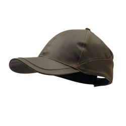 Cappellino in tessuto con look in pelle invecchiata