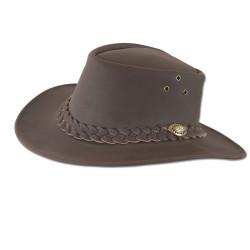 Cappello da caccia in pelle marrone