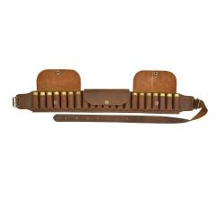 Cintura a cartuccia 21 tubi con patta in pelle invecchiata